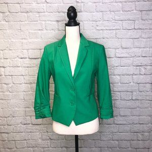 Kelly Green Blazer w/Ruched Sleeves